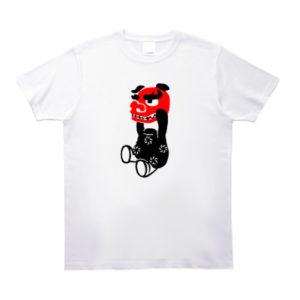 獅子舞が顔を持っているイラストのtシャツ